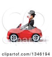 Clipart Of A 3d White And Black Clown Driving A Red Convertible Car To The Left Royalty Free Illustration