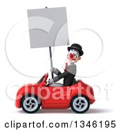 Clipart Of A 3d White And Black Clown Holding A Blank Sign And Driving A Red Convertible Car To The Left Royalty Free Illustration