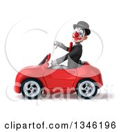 Clipart Of A 3d White And Black Clown Giving A Thumb Down And Driving A Red Convertible Car To The Left Royalty Free Illustration