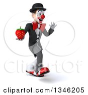 Clipart Of A 3d White And Black Clown Holding A Strawberry Waving And Walking To The Right Royalty Free Illustration