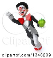 Clipart Of A 3d White And Black Clown Holding A Green Bell Pepper And Flying Royalty Free Illustration