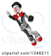 Clipart Of A 3d White And Black Clown Holding A Blackberry And Flying Royalty Free Illustration