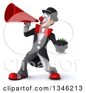 Clipart Of A 3d White And Black Clown Holding A Blackberry And Announcing To The Left With A Megaphone Royalty Free Illustration