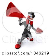 Clipart Of A 3d White And Black Clown Holding A Beef Steak And Announcing Upwards With A Megaphone Royalty Free Illustration