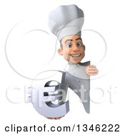 Clipart Of A 3d Yougn White Male Chef Holding A Euro Currency Symbol Around A Sign Royalty Free Illustration