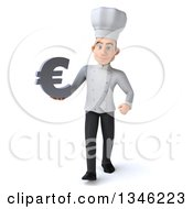 Clipart Of A 3d Yougn White Male Chef Holding A Euro Currency Symbol And Walking Royalty Free Illustration