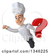Clipart Of A 3d Yougn White Male Chef Holding A Question Mark And Flying Royalty Free Illustration