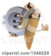 Clipart Of A 3d Chocolate And Vanilla Swirl Waffle Ice Cream Cone Character Holding A Euro Currency Symbol And Jumping Royalty Free Illustration
