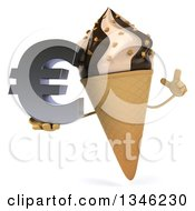 Clipart Of A 3d Chocolate And Vanilla Swirl Waffle Ice Cream Cone Character Holding Up A Finger And A Euro Currency Symbol Royalty Free Illustration