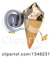 Clipart Of A 3d Chocolate And Vanilla Swirl Waffle Ice Cream Cone Character Shrugging And Holding An Email Arobase At Symbol Royalty Free Illustration