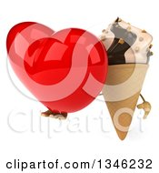 Clipart Of A 3d Chocolate And Vanilla Swirl Waffle Ice Cream Cone Character Holding A Heart Royalty Free Illustration