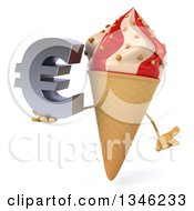 Clipart Of A 3d Strawberry And Vanilla Swirl Waffle Ice Cream Cone Character Shrugging And Holding A Euro Currency Symbol Royalty Free Illustration