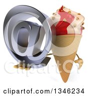 Clipart Of A 3d Strawberry And Vanilla Swirl Waffle Ice Cream Cone Character Holding An Email Arobase At Symbol Royalty Free Illustration by Julos