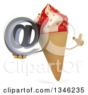 Clipart Of A 3d Strawberry And Vanilla Swirl Waffle Ice Cream Cone Character Holding Up A Finger And An Email Arobase At Symbol Royalty Free Illustration by Julos