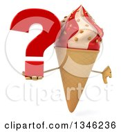 Clipart Of A 3d Strawberry And Vanilla Swirl Waffle Ice Cream Cone Character Giving A Thumb Down And Holding A Question Mark Royalty Free Illustration by Julos