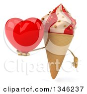 Clipart Of A 3d Strawberry And Vanilla Swirl Waffle Ice Cream Cone Character Holding A Heart Royalty Free Illustration by Julos