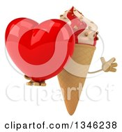 Clipart Of A 3d Strawberry And Vanilla Swirl Waffle Ice Cream Cone Character Holding A Heart And Jumping Royalty Free Illustration by Julos