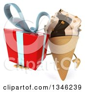 Clipart Of A 3d Chocolate And Vanilla Swirl Waffle Ice Cream Cone Character Holding A Gift Royalty Free Illustration