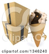 Clipart Of A 3d Chocolate And Vanilla Swirl Waffle Ice Cream Cone Character Holding Boxes Royalty Free Illustration