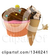Clipart Of A 3d Chocolate And Vanilla Swirl Waffle Ice Cream Cone Character Holding A Chocolate Frosted Cupcake And Jumping Royalty Free Illustration by Julos