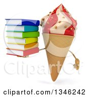 Clipart Of A 3d Strawberry And Vanilla Swirl Waffle Ice Cream Cone Character Holding A Stack Of Books Royalty Free Illustration by Julos