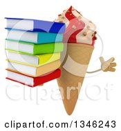 Clipart Of A 3d Strawberry And Vanilla Swirl Waffle Ice Cream Cone Character Holding A Stack Of Books And Jumping Royalty Free Illustration by Julos