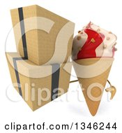 Clipart Of A 3d Strawberry And Vanilla Swirl Waffle Ice Cream Cone Character Holding Boxes Royalty Free Illustration