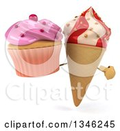 Clipart Of A 3d Strawberry And Vanilla Swirl Waffle Ice Cream Cone Character Holding And Pointing To A Pink Frosted Cupcake Royalty Free Illustration