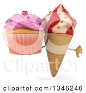 Clipart Of A 3d Strawberry And Vanilla Swirl Waffle Ice Cream Cone Character Holding A Pink Frosted Cupcake And Giving A Thumb Down Royalty Free Illustration