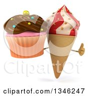 Clipart Of A 3d Strawberry And Vanilla Swirl Waffle Ice Cream Cone Character Holding A Chocolate Frosted Cupcake And Giving A Thumb Up Royalty Free Illustration