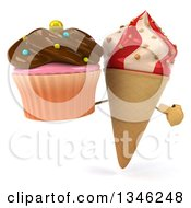 Clipart Of A 3d Strawberry And Vanilla Swirl Waffle Ice Cream Cone Character Holding And Pointing To A Chocolate Frosted Cupcake Royalty Free Illustration