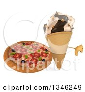 Clipart Of A 3d Chocolate And Vanilla Swirl Waffle Ice Cream Cone Character Holding A Pizza And Giving A Thumb Down Royalty Free Illustration by Julos