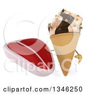 Clipart Of A 3d Chocolate And Vanilla Swirl Waffle Ice Cream Cone Character Holding A Beef Steak Royalty Free Illustration