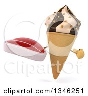 Clipart Of A 3d Chocolate And Vanilla Swirl Waffle Ice Cream Cone Character Holding And Pointing To A Beef Steak Royalty Free Illustration