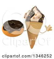 Clipart Of A 3d Chocolate And Vanilla Swirl Waffle Ice Cream Cone Character Jumping And Holding A Chocolate Glazed Donut Royalty Free Illustration