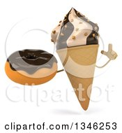 Clipart Of A 3d Chocolate And Vanilla Swirl Waffle Ice Cream Cone Character Holding Up A Finger And A Chocolate Glazed Donut Royalty Free Illustration