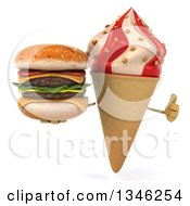 Clipart Of A 3d Strawberry And Vanilla Swirl Waffle Ice Cream Cone Character Holding A Double Cheeseburger And Giving A Thumb Up Royalty Free Illustration