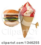 Clipart Of A 3d Strawberry And Vanilla Swirl Waffle Ice Cream Cone Character Holding A Double Cheeseburger And Giving A Thumb Down Royalty Free Illustration
