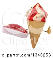 Clipart Of A 3d Strawberry And Vanilla Swirl Waffle Ice Cream Cone Character Holding A Beef Steak And Giving A Thumb Up Royalty Free Illustration