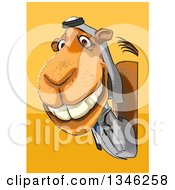 Clipart Of A Cartoon Arabian Doctor Camel Looking Around A Sign Over Yellow And Orange Royalty Free Illustration