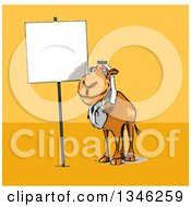 Clipart Of A Cartoon Arabian Doctor Camel By A Blank Sign Over Yellow And Orange Royalty Free Illustration