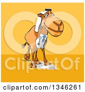 Clipart Of A Cartoon Arabian Doctor Camel Over Yellow And Orange Royalty Free Illustration