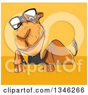 Clipart Of A Cartoon Bespectacled Business Camel Over A Sign On Yellow And Orange Royalty Free Illustration