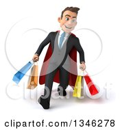Clipart Of A 3d Super White Businessman Holding Shopping Bags And Speed Walking Royalty Free Illustration