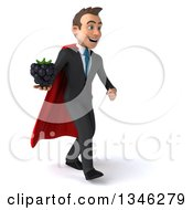 Clipart Of A 3d Super White Businessman Holding A Blackberry And Walking To The Right Royalty Free Illustration