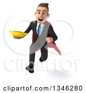 Clipart Of A 3d Super White Businessman Holding A Banana And Sprinting Royalty Free Illustration