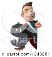Clipart Of A 3d Super White Businessman Holding A Dollar Currency Symbol Around A Sign Royalty Free Illustration