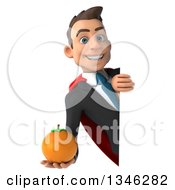 Clipart Of A 3d Super White Businessman Holding A Navel Orange Around A Sign Royalty Free Illustration