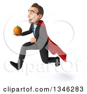 Clipart Of A 3d Super White Businessman Holding A Navel Orange And Sprinting To The Left Royalty Free Illustration