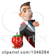 Clipart Of A 3d Super White Businessman Holding A Strawberry Around A Sign Royalty Free Illustration